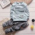 2016 Новый детская одежда набор Осень мальчика костюм установить 100% хлопок Дети с длинным рукавом футболки + брюки