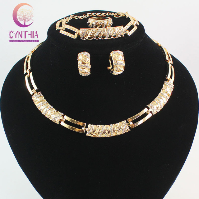 African Beads Jewelry Sets Charming Dubai  Gold Plated Crystal Trendy Classic Designs Costume Jewelry Set And Jewelry Boxes