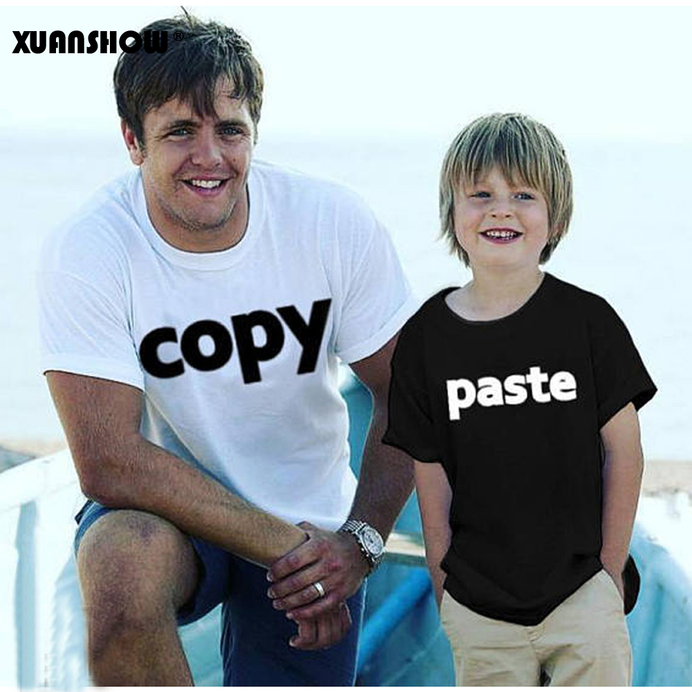 XUANSHOW 2019 Trend Tops Tee Summer time Model Household Matching Outfits Father and Son Copy Paste Letters Cotton Household Look T Shirt Matching Household Outfits, Low-cost Matching Household Outfits,...