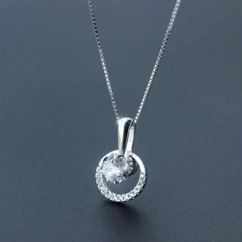 Phụ nữ Pha Lê Bạc 925 Nacklace Trang Sức Vòng Xương Đòn Dây Chuyền mặt dây chuyền vòng tay Bé Gái Tặng