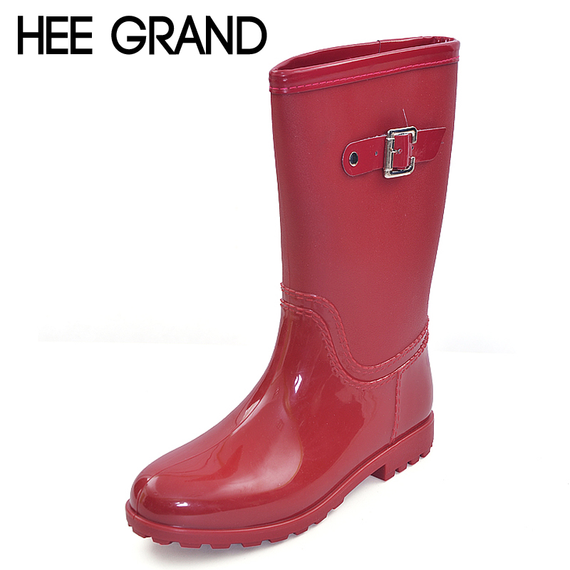 ФОТО HEE GRAND Candy Color Rain Boots New Slip On Women Mid-Calf Rainboots Casual Round Toe Platform Flats Rubber Shoes Woman XWX3071