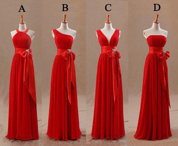 2016 Red Champagne Bridesmaids Dresses Uk Pleats Elegant Bow Knot Chiffon Long Designer Plus Size
