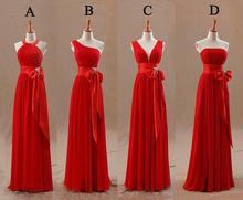 2016 Red Champagne Bridesmaids Dresses Uk Tight Pleats Elegant Bow Knot Chiffon Long Designer Plus size Bridesmaid Party Dresses