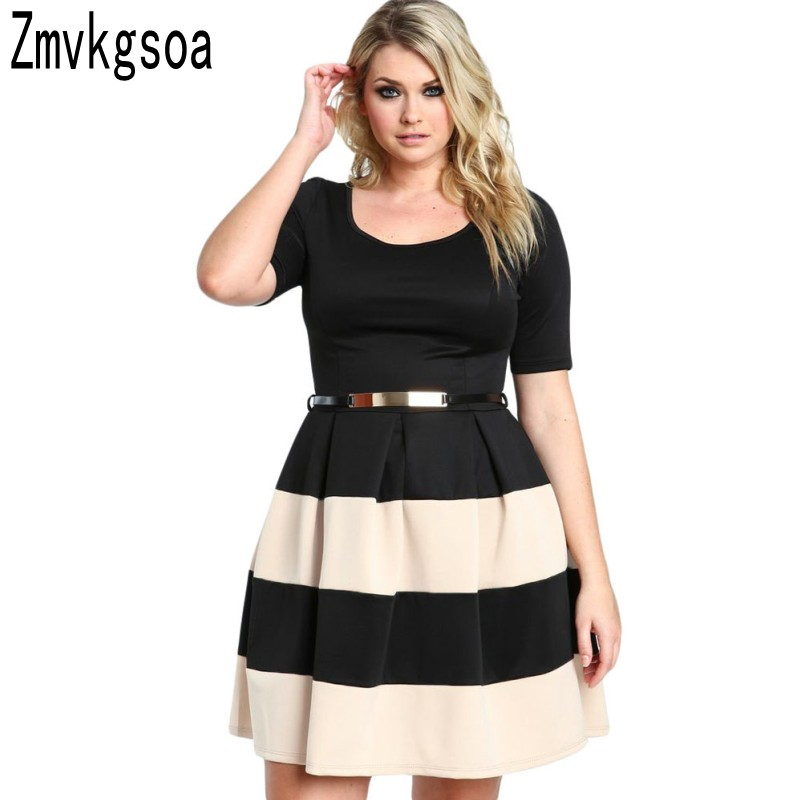 Sexy 2018 Women Summer Style Stripes Dresses Womens Detail Belted Big Plus Size XXXL Skater Dress Lady Vestidos De Festa L22806