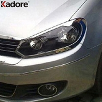 For Volkswagen golf 6 MK6 2009 2014 Chromed Front Head Light Lamp Shade Cover Car Decoration Headlight Sheild Accessories