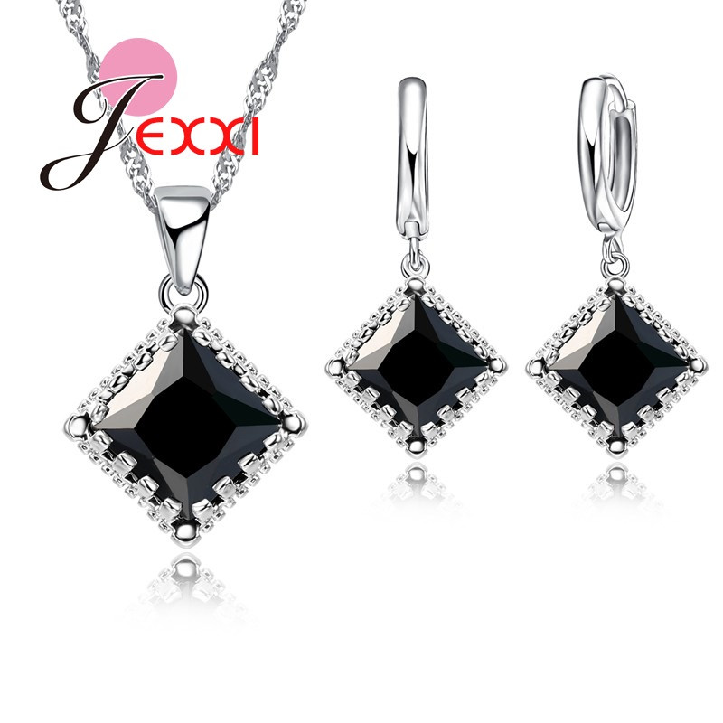 Women Pendants Necklace Earrings Set For Engagement Accessory Crystal Bridal Wedding Jewelry Sets  Silver Party Set
