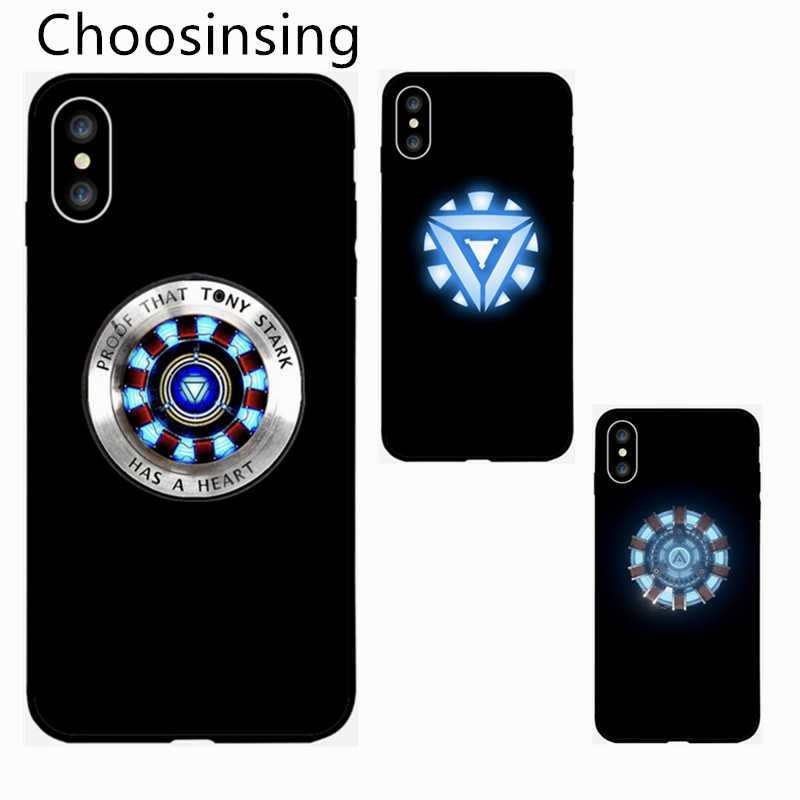 Tony Stark Heart Light arc Reactor Super Heroes Thor Iron Man Endgame Phone Cover Case  For iPhone 7 6 6S 8 plus X XR X MaX Gift