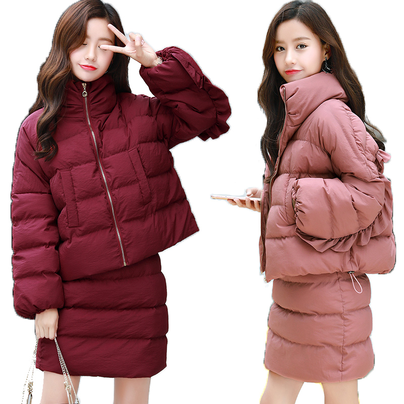 2 D'hiver Vers Jackets Femmes Femelle Hiver Plus light Élégant Vêtements Outwear Pour Pink Manteaux Jupes Skirt Bas Le Les Pièce 2018 Coton Wine Red La Nouveau Sets Tenues Taille Veste Chaudes q0T7A1t0