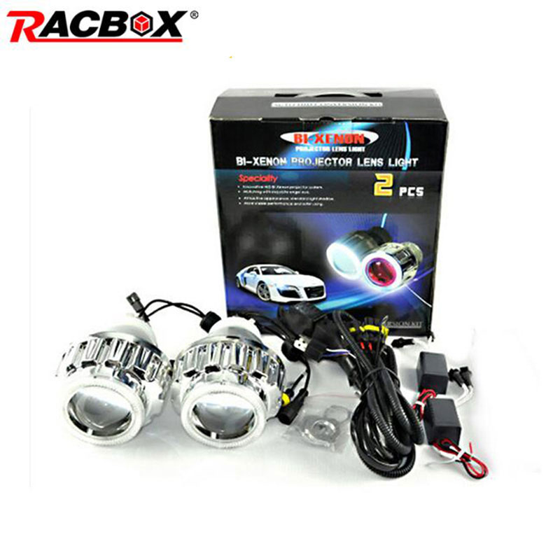 RACBOX 35W 2.8inch HID Bi Xenon Projector Lens Light LHD H1 H4 H7 6000K White CCFL Angel Eyes 6000K Xenon Bulb For Car Headlight 35w d4r car hid warm white xenon headlight light