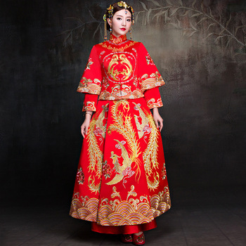 Bride Cheongsam Vintage Chinese Style Wedding Dress Retro Toast Clothing Lady Embroidery Phoenix Gown Marriage Qipao red Clothes
