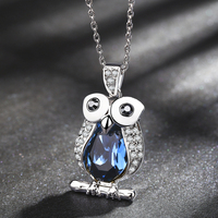 Top Quality Austria Blue Crystal Owl Necklace Pendant With Premium Zircon Fashion Necklace Italina Jewelry For