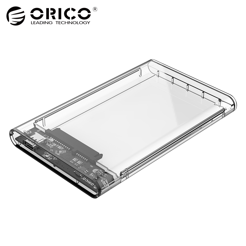 ORICO 2.5 inch Transparent TYPE-C to Sata 3.0 HDD Case Tool Free 5 Gbps Support 2TB UASP Protocol Hard Drive Enclosure orico 6518c3 type c hard drive dock 2 5 3 5 inch tool free