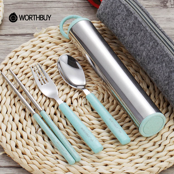WORTHBUY Creative 304 Stainless Steel Tableware Set With Wheat Straw Travel Dinnerware Portable Cutlery Container Dinner Set