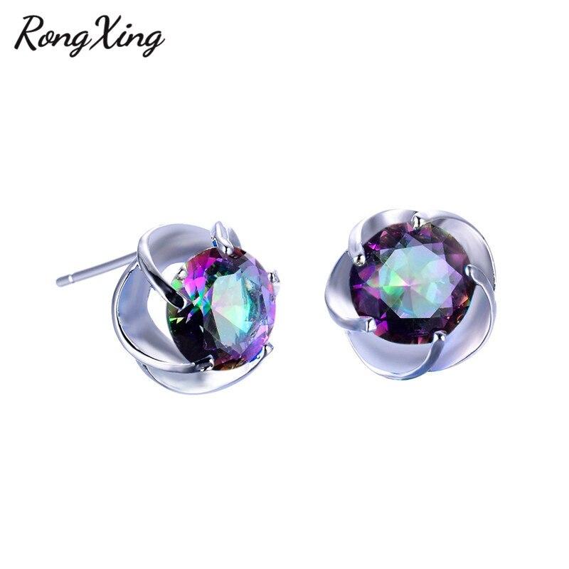 RongXing Mystic Rainbow Round Zircon Stud Earrings For Women 925 Sterling  Silver Filled Multicolor CZ Fashion Earrings Ear0029-in Stud Earrings from  Jewelry ... 973d975dc3e3