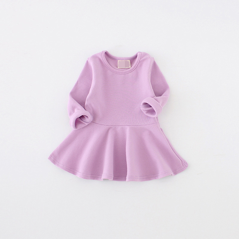 Hot Sale 2018 Girls Kids Ruffles Birthday Outfits Korean Style Dress Summer Baby Girl Princess Purple Dress Long Sleeve