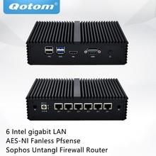 QOTOM мини-ПК Q555G6 Q575G6 с 7-ым ядром i5-7200U/i7-7500U 6 гигабитных NIC, COM, безвентиляторный маршрутизатор Pfsense Sophos Untangl