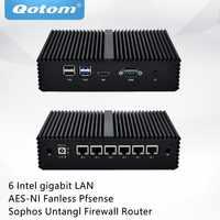 QOTOM Mini PC Q555G6 Q575G6 con 7th Core i5-7200U/i7-7500U 6 schede di Rete Gigabit, COM, fanless Pfsense Sophos Untangl Firewall Router