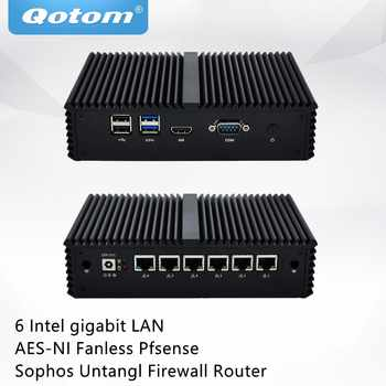 QOTOM Mini PC Q555G6 Q575G6 with 7th Core i5-7200U/i7-7500U 6 Gigabit NICs, COM, Fanless Pfsense Sophos Untangl Firewall Router