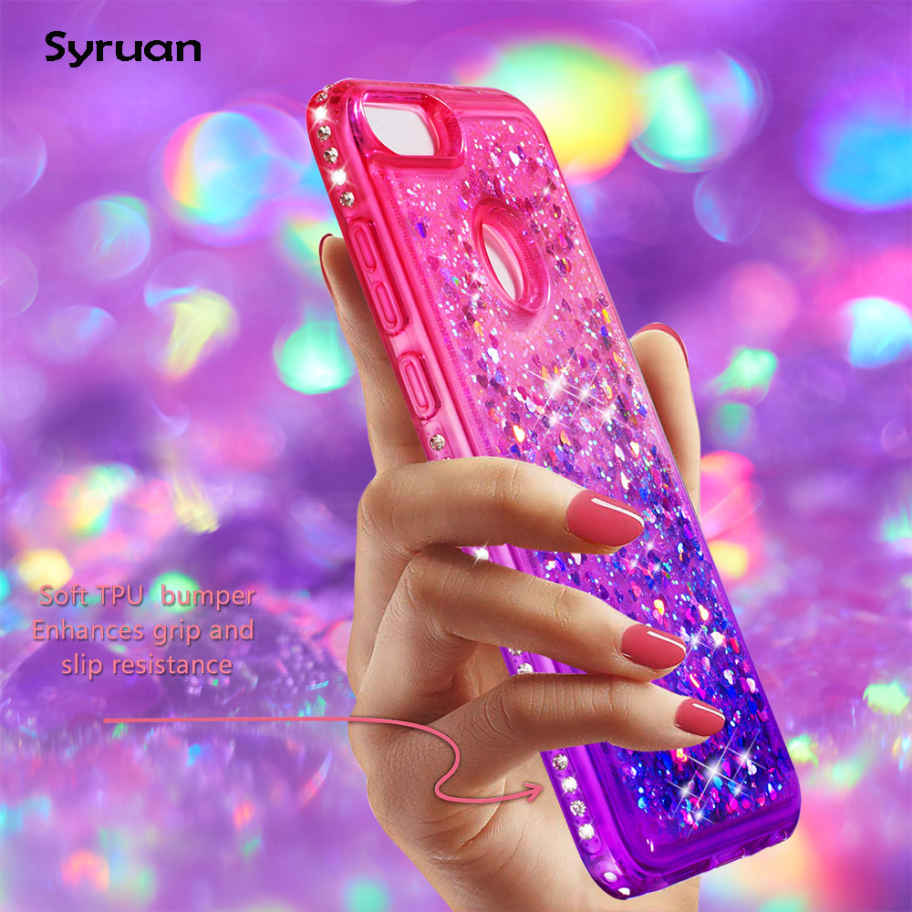 For Huawei P20 Mate 20 Lite Honor 7a Pro Y5 Prime Y6 2018 P Smart Nova 3e Liquid Sand Gradient Tpu Case Glitter Cover Shell Rhinestone Cases