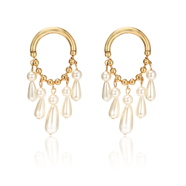 New Korean Earrings Fashion Jewelry Imitation Pearl Earrings for Women Gold Color Big Circle Earrings Statement boucle d'oreille