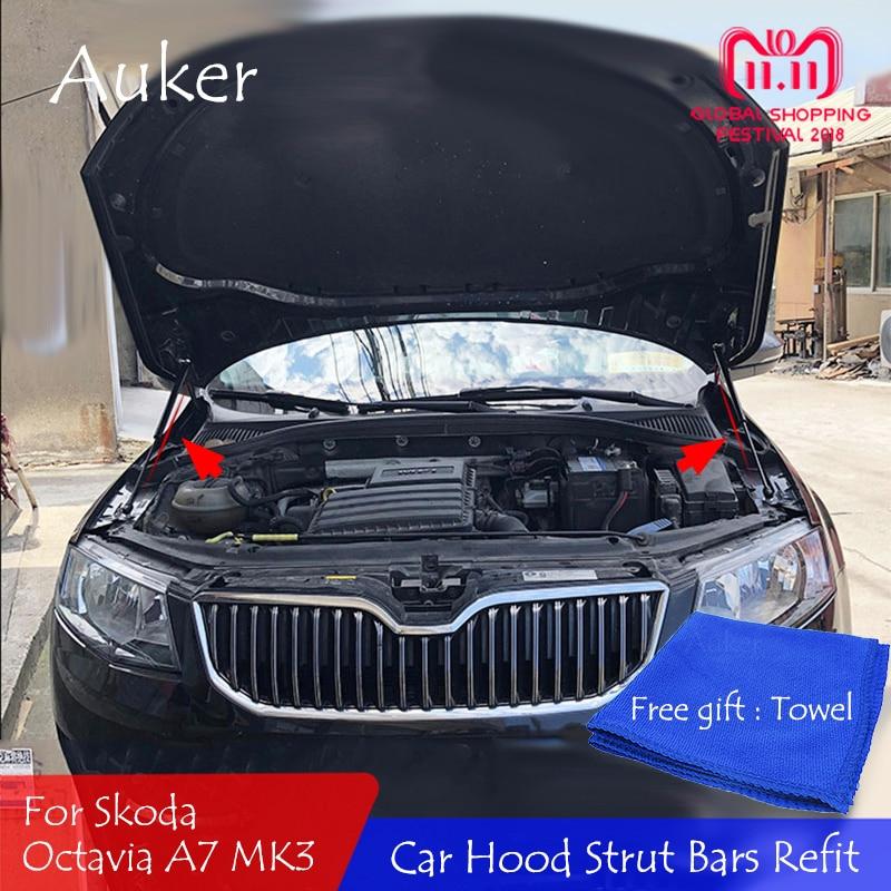 Per il 2016-2019 Skoda Octavia A7 MK3 Auto-styling Refit Bonnet Hood Shock Gas Ascensore Barra sostegno Asta di Supporto