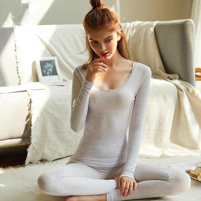 Fashion Seamless Warm Long Johns Ladies Slim Underwear Sets Women Tunic Winter Thermal Underwear