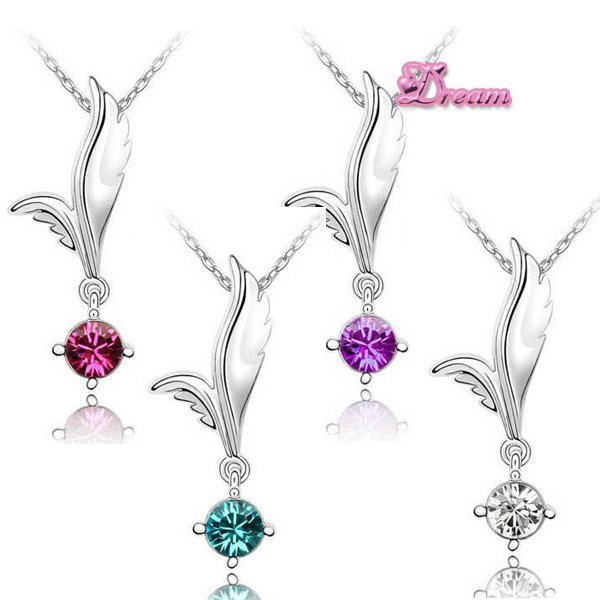 Free Shipping,Hotselling Wholesales Crystal Zircon A+ Angel Wings Charm Necklace Korean style fashion jewelry,NO.4023