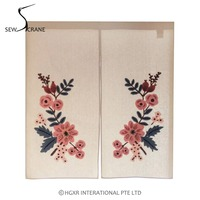 SewCrane Honeycomb Fabric With Floral Leaves Embroidered Design Home Restaurant Door Curtain Noren Doorway Room Divider