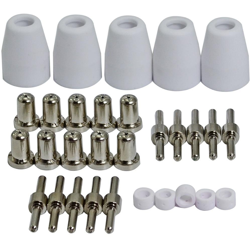 corpo & niquelado pontas eletrodos bicos acessórios consumíveis kit 31 peças