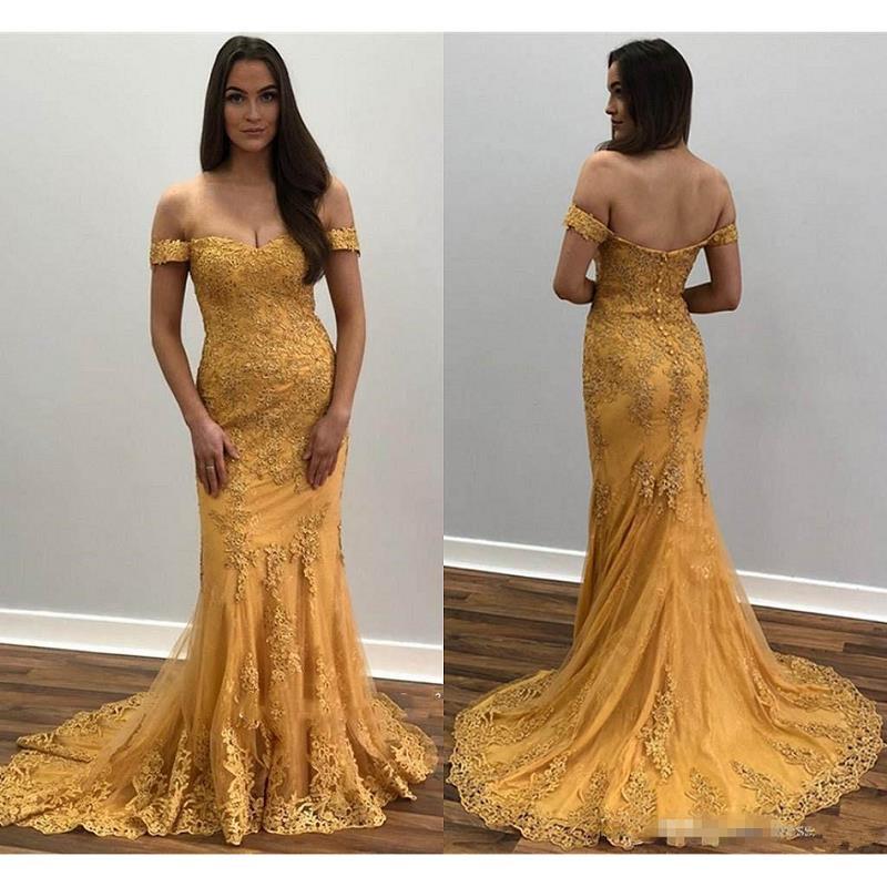 Vintage Gold Mermaid Evening Dresses Long 2019 vestidos de fiesta de noche Arabic Lace Prom Gowns