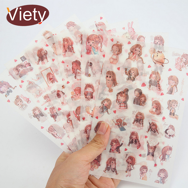 6 Sheets/lot Lovely Girl Pvc Waterproof Paper Sticker DIY Scrapbooking Diary Album Sticker Post Stationery School Supplies
