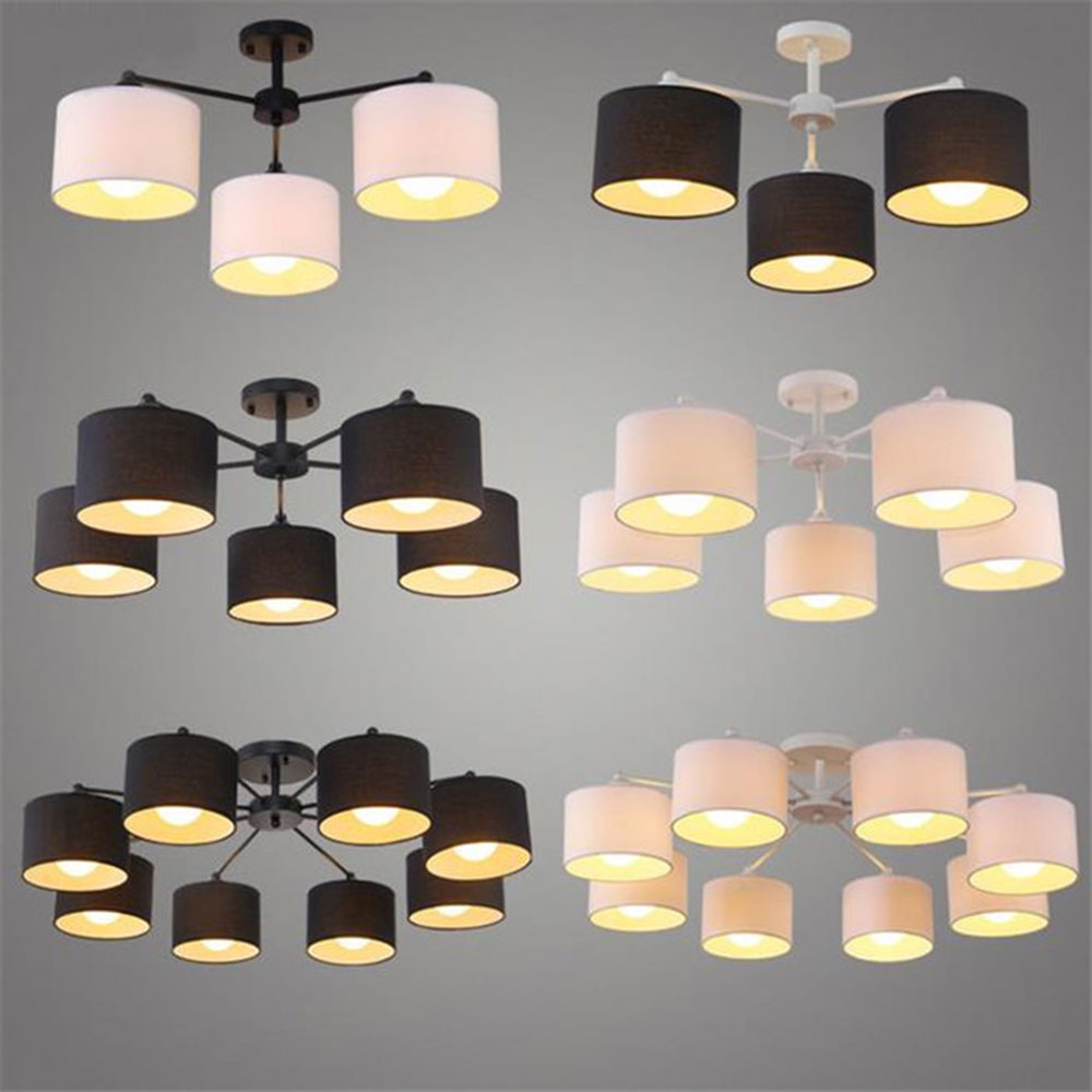 modern Black white fabric Covers chandelier  living room bedroom childroom restaurant ceiling lustre chandeliers cloth shade noosion modern led ceiling lamp for bedroom room black and white color with crystal plafon techo iluminacion lustre de plafond