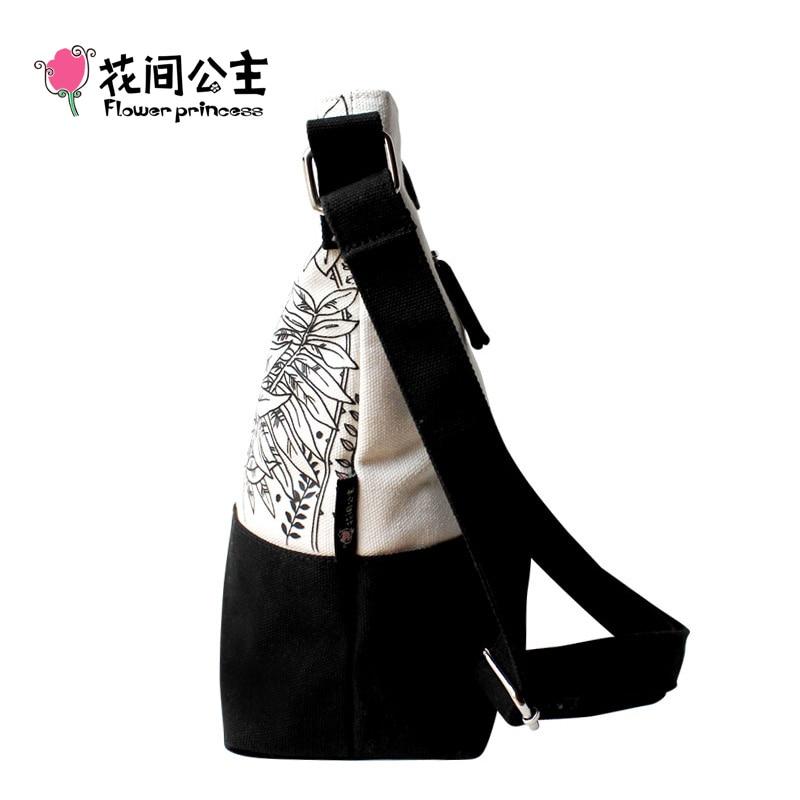 Lillede printsess brändi lõuend klapi naiste moe valge must õie - Käekotid - Foto 3