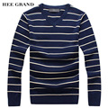 HEE GRAND Men Casual Sweater 2017 New Arrival V-Neck Striped Whole Cotton Material Spring Pullovers Size M-3XL MZM532