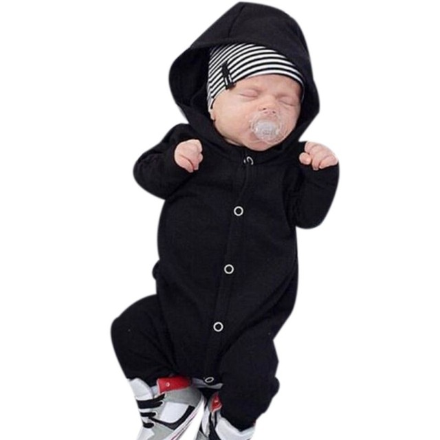 5480c252a049 0-24M Newborn Infant Baby Boy Clothing Romper Long Sleeve Black Jumpsuit  Playsuit Clothes Outfits