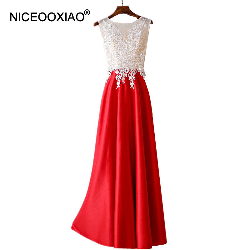 NICEOOXIAO 2018 New Luxury Banquet floor-length Evening Dress Red zipper with Beading Sleeveless prom Long Formal Gowns 8LFS21