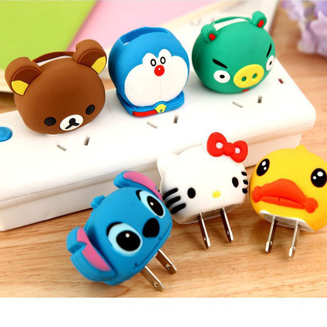 2017 New Silicone Cartoon Cute Phone Charger Adapter Plug Power Adapter Cases Protector For iPhone 5 5s 6 7 Charger Cover Case