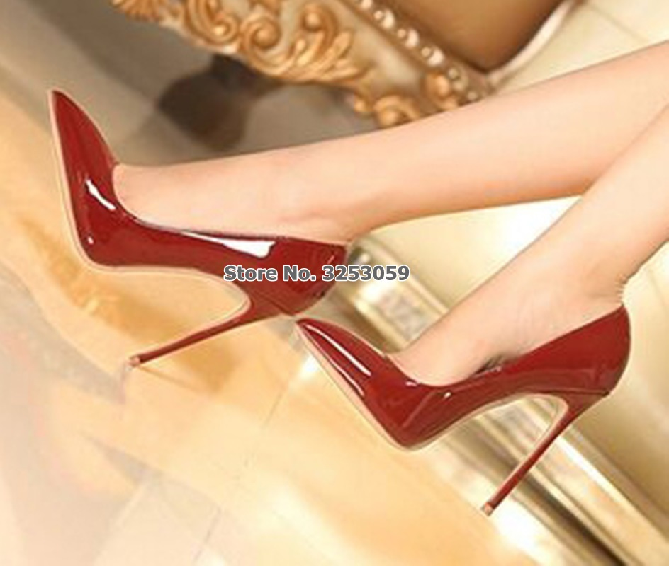 ALMUDENA européenne Sexy bordeaux miroir chaussures en cuir mince talon haut vin rouge bout pointu pompes Chic chaussures de mariage Drophip - 3
