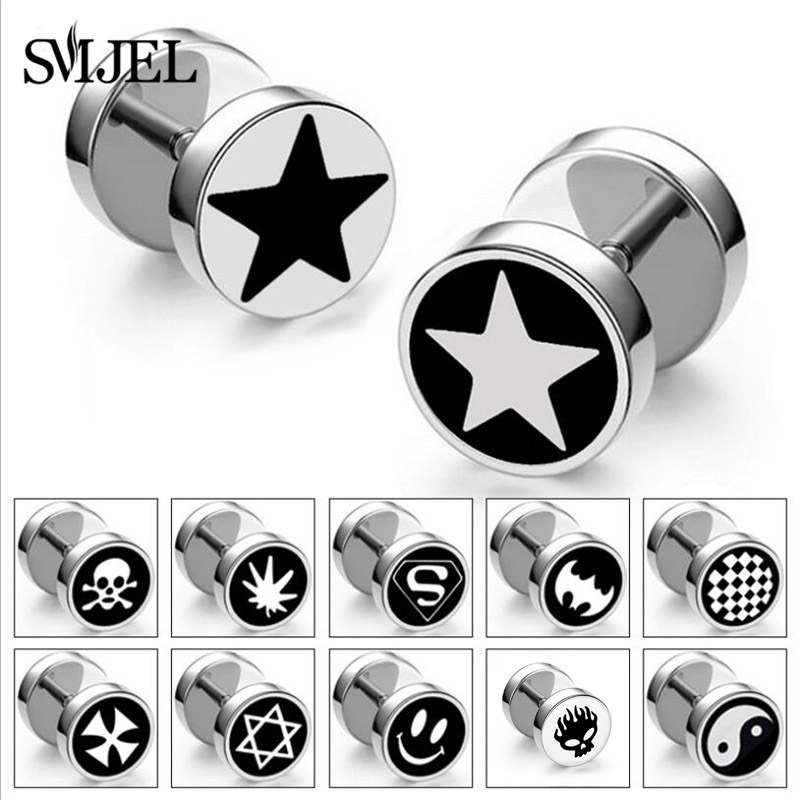 SMJEL Punk Stainless Steel Star Batman Studs Faux Fake Ear Plugs Flesh Tunnel Gauges Tapers Stretcher Earring Piercing Jewelry