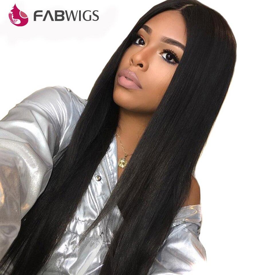 Fabwigs шелковистая прямая Синтетические волосы на кружеве человеческих волос парики с ребенком волос бразильский человеческих волос парики ...