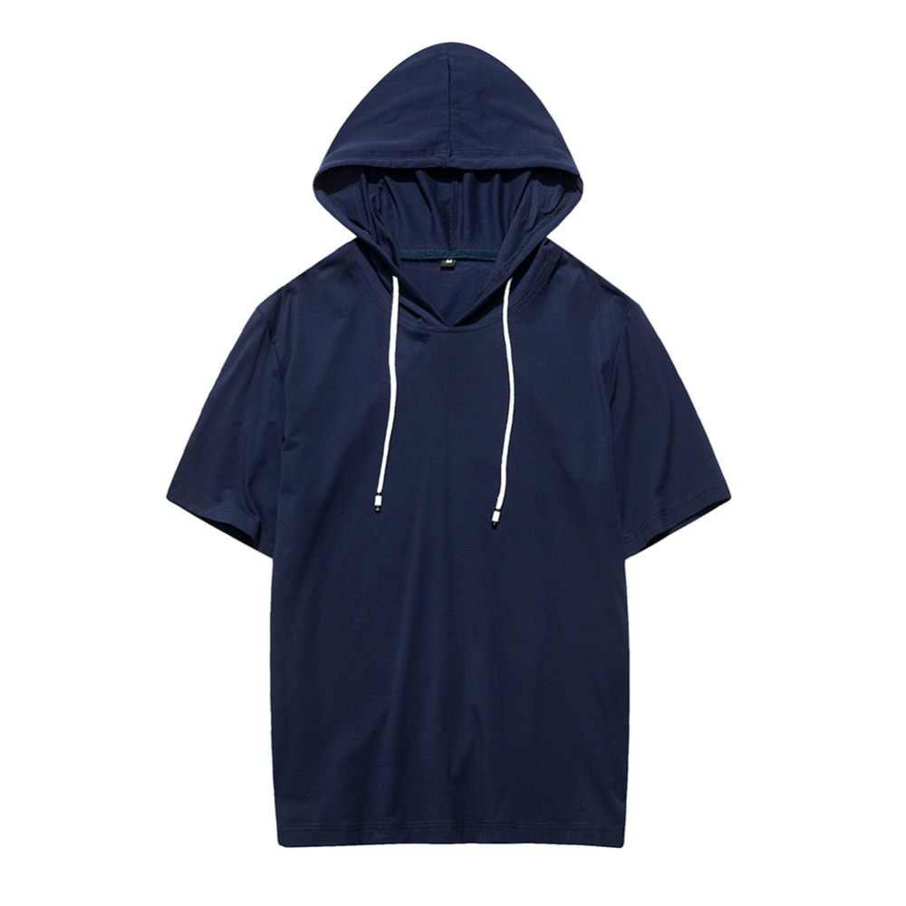Хлопок 100% с капюшоном 2019 новая одежда 8 цветов Однотонная футболка мужские футболки фитнес Повседневный для мужчин летний скейтборд футболки для мальчиков
