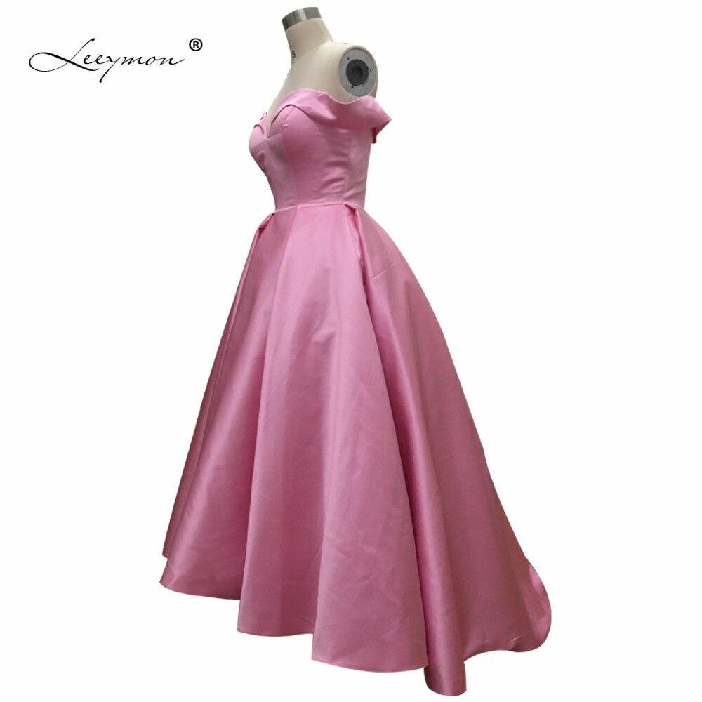 Leeymon Off-shoulder High Low Prom Dress Fast Shipping 2019 Real Prom Evening  Dress Pink Vestido Formatura Leeymon Plus Size RE3 9897f3ef2b5b