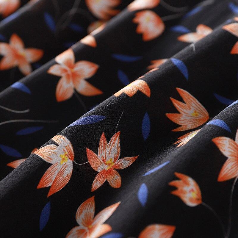 À Perles 2019 Fleurs Luxe Color 100 Trimestre ligne Nouveau Picture De Imprimées Réel Col Femmes Soie Rond Trois A Printemps Manches Robe R10484 S68Odx6q