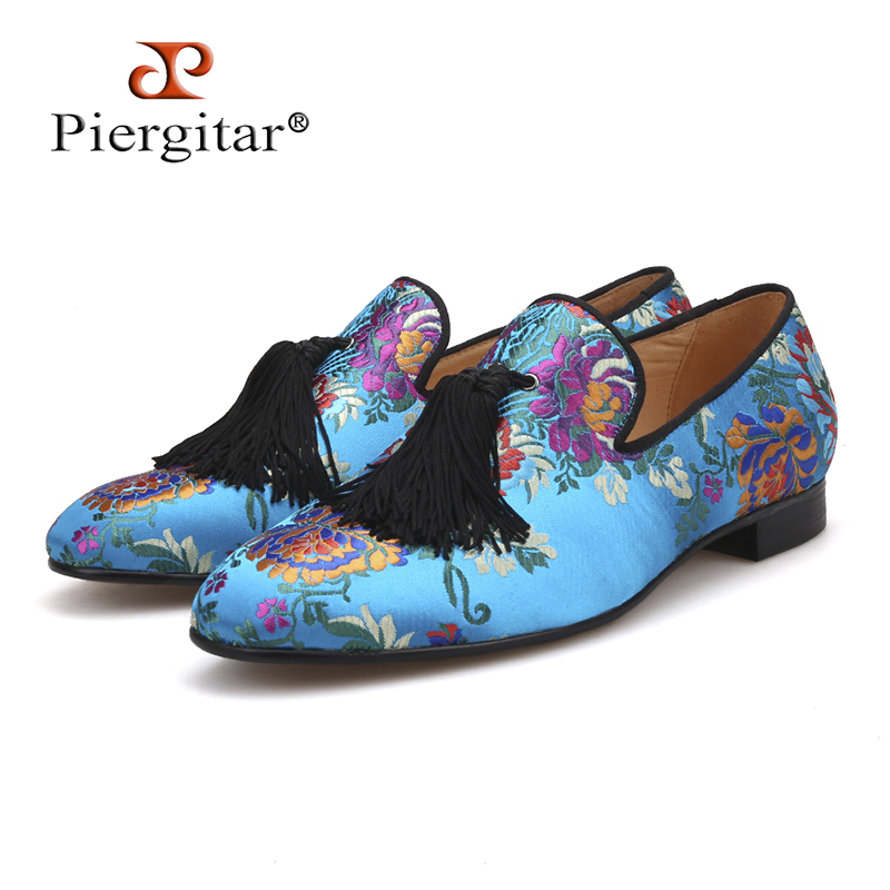 Pierigtar new arrival Chinese style luxury flower silk shoes Handmade men tassel loafers plus size men's party/wedding shoes shoulder cut plus size flower blouse
