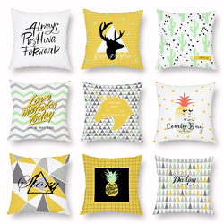 Yellow Series Cushion Cover Soft Pillow Case Sofa Car Bed Decorative Accessories Home Decor Pineapple Deer Letters Pattern 45x45