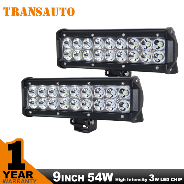 LED LIGHT BAR 2PCS 9INCH 54W Work Light OFF ROAD LED BAR 4WD 4x4 ATV UTV SUV Car-Styling Automobiles Running Lights For Cars