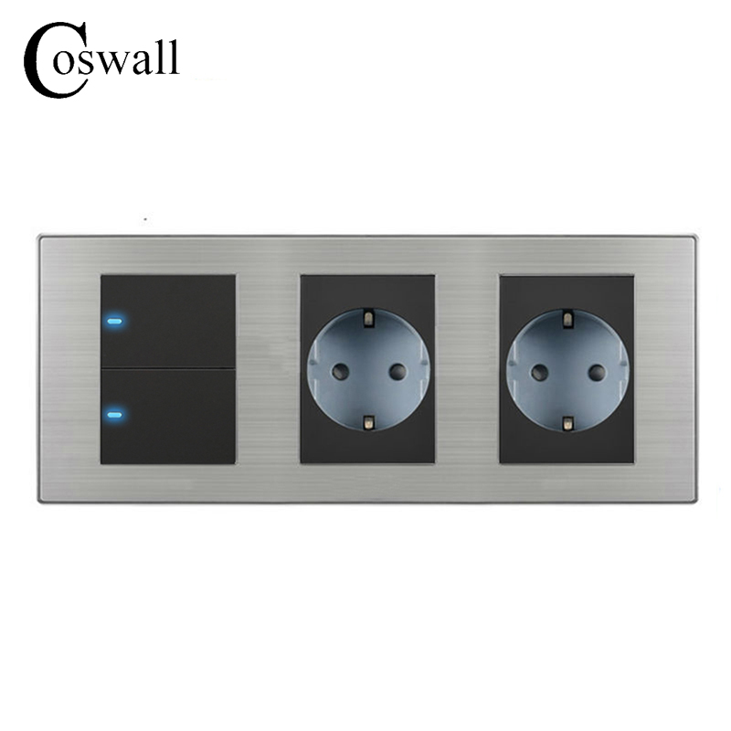 Coswall 16A EU Standard Wall Double Socket + 2 Gang 1 Way Light Switch With LED Indicator Stainless Steel Panel 236*86mm