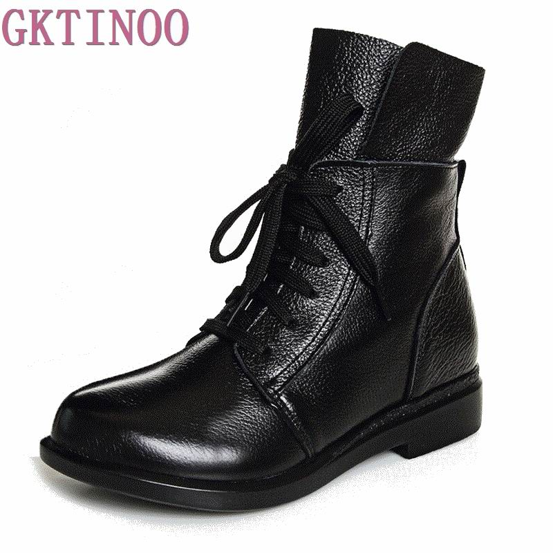 2018 Women Fashion Vintage Genuine Leather Shoes Female Spring Autumn Ankle Boots Woman Lace Up Casual Boots front lace up casual ankle boots autumn vintage brown new booties flat genuine leather suede shoes round toe fall female fashion