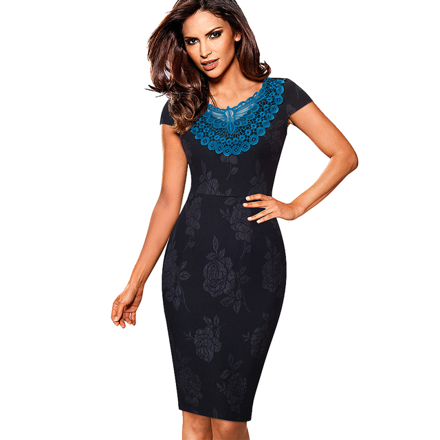 eeab765c7 Women Elegant Lace Appliques Summer Dress Vintage Cap Sleeve Jacquard Work  Office Party Sheath Fitted Bodycon Dress EB373