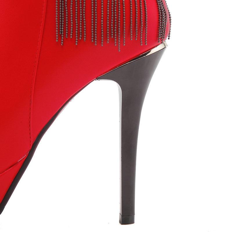 Chaussures Hiver Sexy Taille Femmes Cheville rouge Femme Parti Talons Plafform 2019 Dames Super 42 Automne Noir 43 Haute Bottes Robe qZ7nRvn